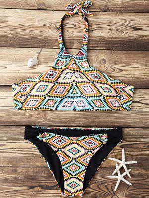 Bikini à Col Haut Imprimé De Motif Losange - M