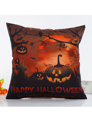 Uncanny Halloween Night Pumpkin Face Pattern Pillow Case - Black And Orange