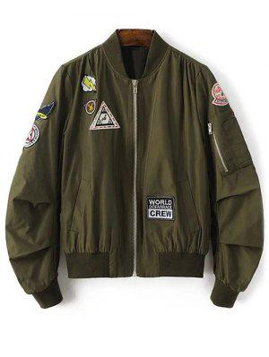Patch Design Stand Neck Zipper Up Jacket - Army Green S
