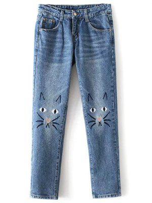 Bolsillos gato de la historieta de los pantalones vaqueros bordados