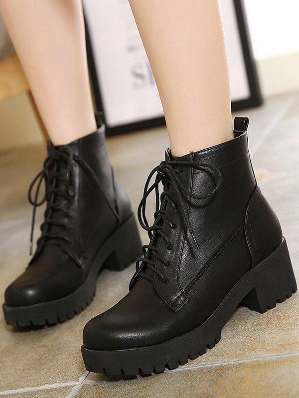 Black Lace Up Chunky Heel Short Boots