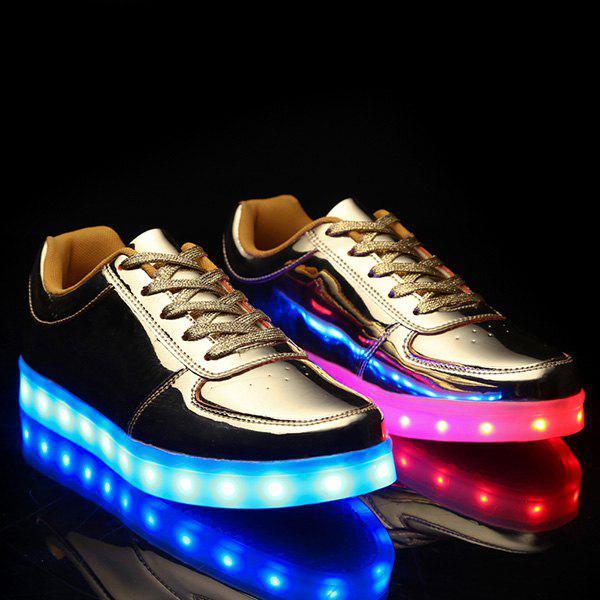Lumières à la mode Led Luminous et Metal Color Design Chaussures décontractées pour hommes
