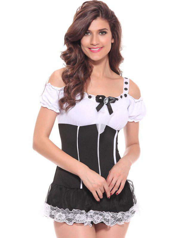 Charming Lace Spliced Hit Color Women s Cosplay Costume 192121601