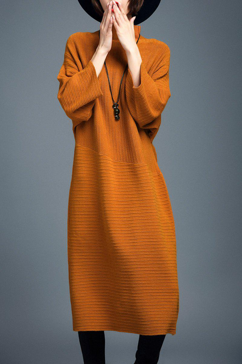 Col Montant Batwing Manches Robe Pull