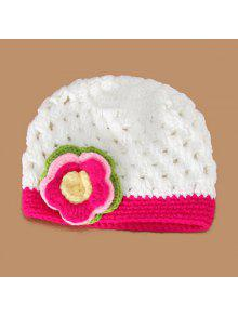 أنيق متعدد الطبقات زهرة شكل منمق الحياكة محبوك قبعة للأطفال - أبيض