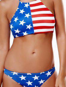 Traje De Baño Halter De La Bandera Americana - Azul Y Rojo S