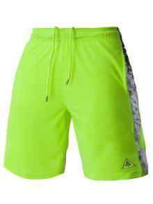 Malla De Diseño De Impresión Empalmadas Con Cordones De Pierna Recta Pantalón Corto Para Los Hombres - Neón Brillante Verde Xl