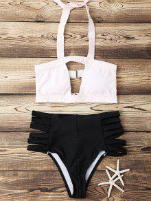 Halter Del Color Del Golpe Del Vendaje Del Bikini Set - Rosa Luz S