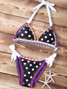 Polka Dot Stitched Halter String Bikini Set - Black S