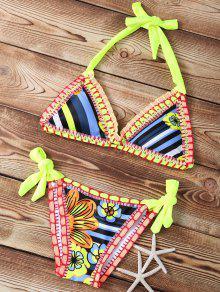 Rayado De Punto Halter Bikini Conjunto De Cuerdas - Neón Brillante Verde S
