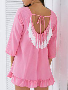 Backless Tassels Shift Dress - Pink L