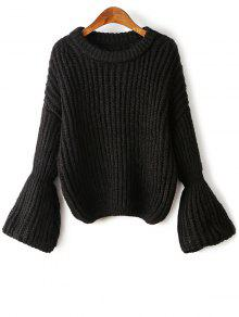 Buy Bell Sleeve Chunky Sweater - BLACK ONE SIZE