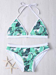 Halter Mujeres  's De Las Hojas De Impresión Bikini Set - Verde M