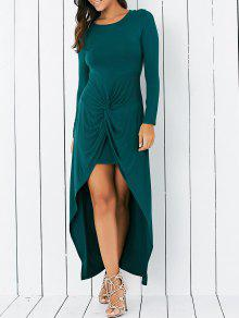 Wrapped Irregular Scoop Neck Long Sleeve Dress - Green M