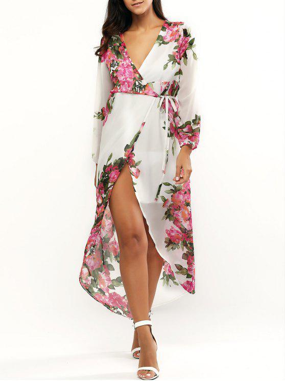 sale Floral Print Plunging Neck Wrap Maxi Dress - WHITE M