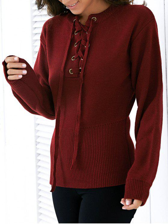 Round Neck Solid Color Lace Up Sweater - Rouge vineux  TAILLE MOYENNE