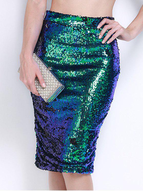 تنورة رصاص عالية الخصر - أخضر M