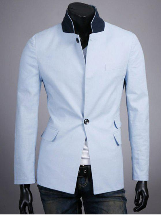 Pied de col Splicing design One-Button manches longues Blazer - Azur XL