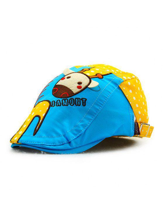 أنيق الكرتون الزرافة التطريز البولكا نقطة نمط في الهواء الطلق نيوزبوي قبعة للأطفال - الأصفر