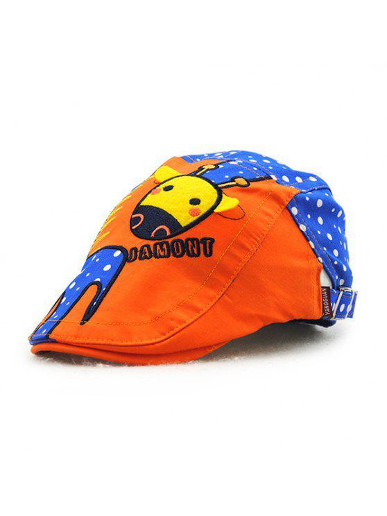 أنيق الكرتون الزرافة التطريز البولكا نقطة نمط في الهواء الطلق نيوزبوي قبعة للأطفال - الياقوت الأزرق