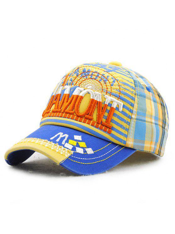 خطابات أنيقة التطريز الشريط والترتان نمط قبعة بيسبول للأطفال - الياقوت الأزرق