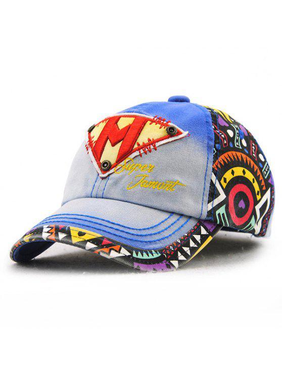 أنيق رسالة م مقلوب مثلث التطريز خربش نمط قبعة بيسبول للأطفال - الياقوت الأزرق