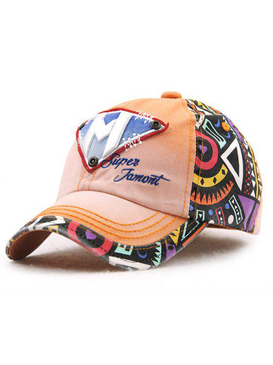 أنيق رسالة م مقلوب مثلث التطريز خربش نمط قبعة بيسبول للأطفال - Orangepink
