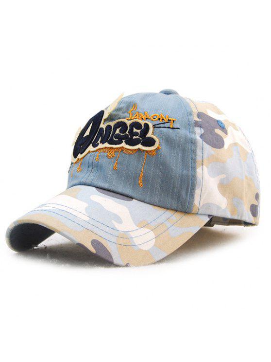 خطابات أنيقة التطريز التمويه نمط قبعة بيسبول للأطفال - ازرق رمادي
