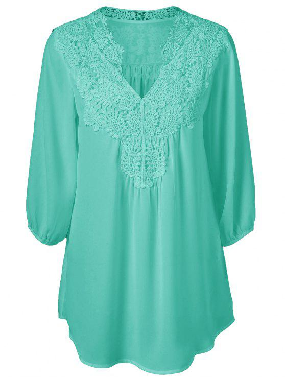 fancy Plus Size Crochet Trim Tunic Top - GREEN L