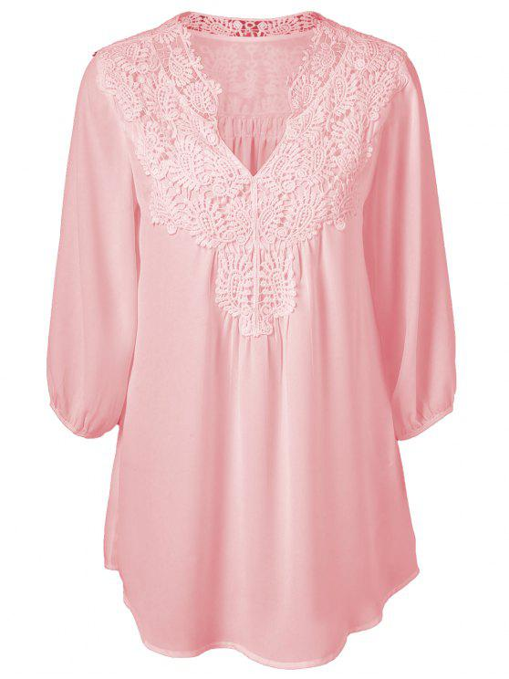 unique Plus Size Crochet Trim Tunic Top - PINK 5XL