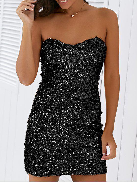 Mini Vestidon de Lentejuelas con Tirantes Finos - Negro Un tamaño(Montar tam