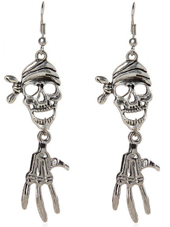 womens Halloween Pirate Skull Earrings - SILVER