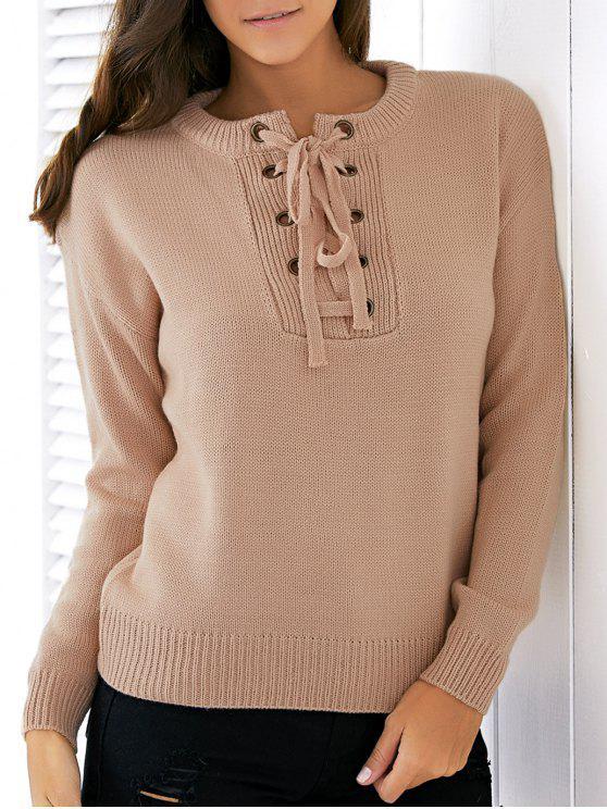 Einfarbiger Pullover mit Schnürung und Rundhalsausschnitt - Aprikose Eine Größe