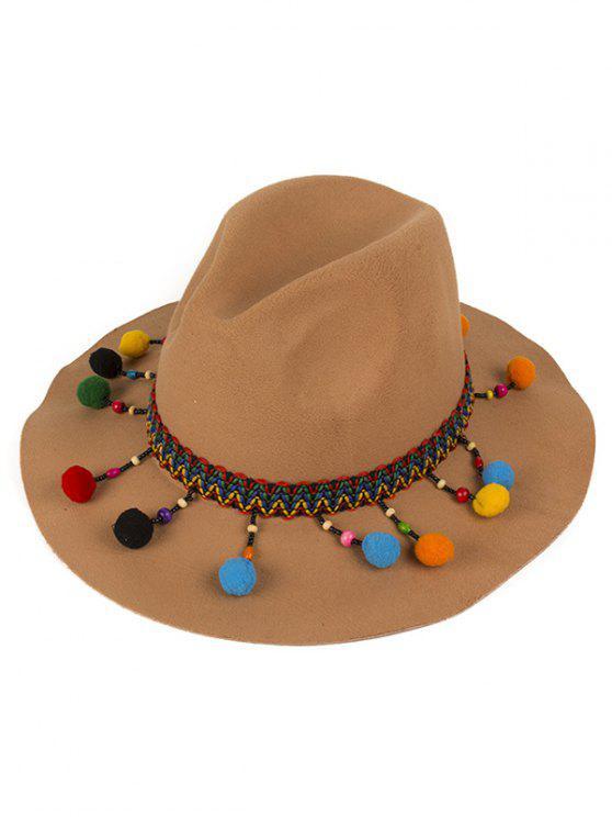 outfits Pompon Pendant Ethnic Felt Jazz Hat - CAMEL