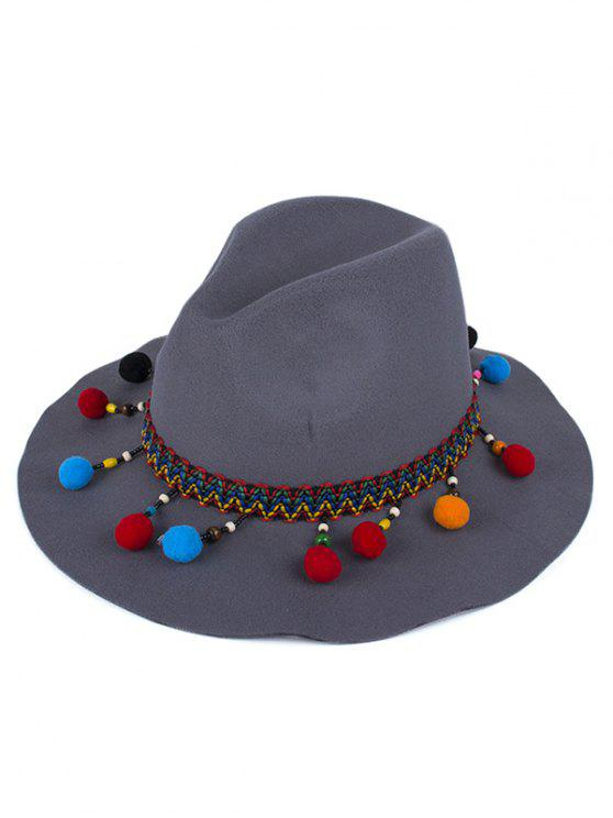 shops Pompon Pendant Ethnic Felt Jazz Hat - DEEP GRAY