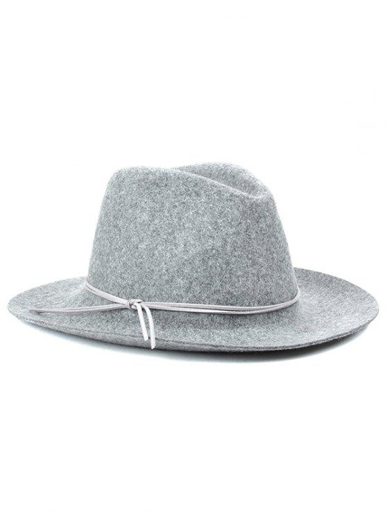 Chapeau trilby de feutre d'hiver britannique décoré de nœud - Gris Clair