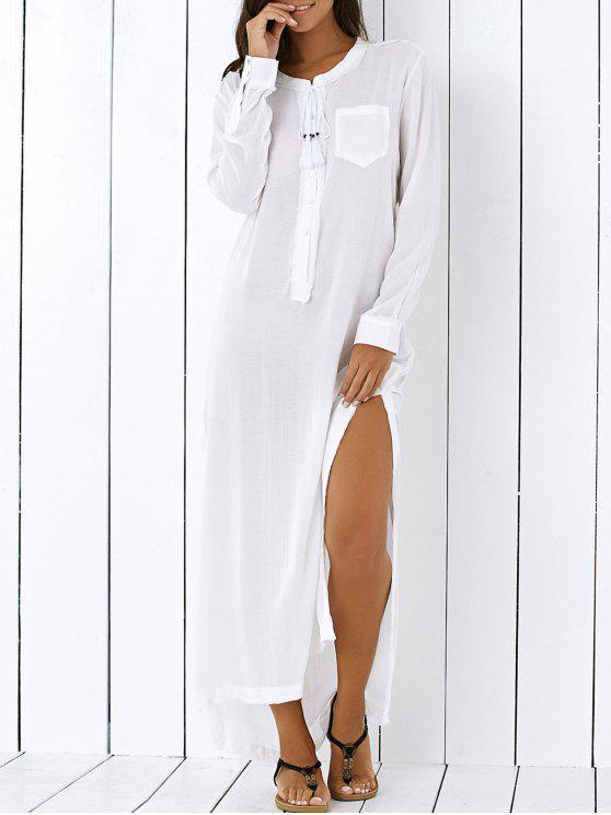 372c23511fd08a 33% OFF] 2019 High Low Hem Long Sleeve Side Slit Shirt Dress In ...