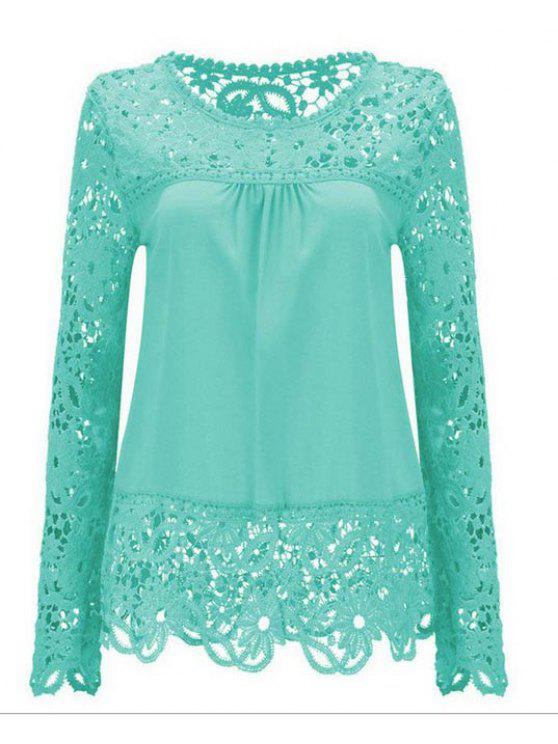 latest Long Sleeve Sheer Lace Blouse - LIGHT BLUE XL