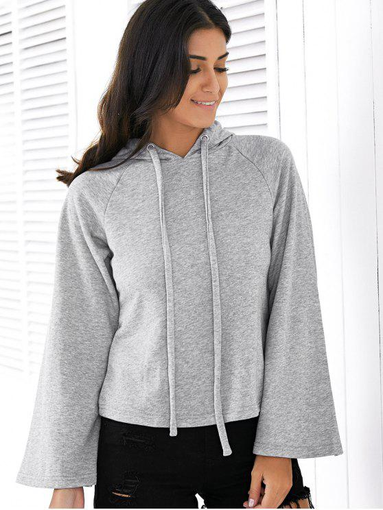 buy Solid Color Long Raglan Sleeve Hoodie - GRAY M