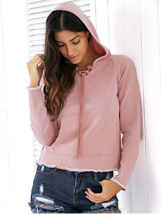 women Light Pink Raglan Sleeve Lace Up Hoodie - NUDE PINK 2XL