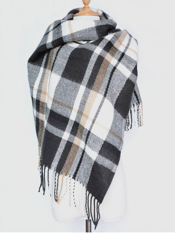 women's Plaid Tassel Edge Shawl Wrap Scarf - BLACK