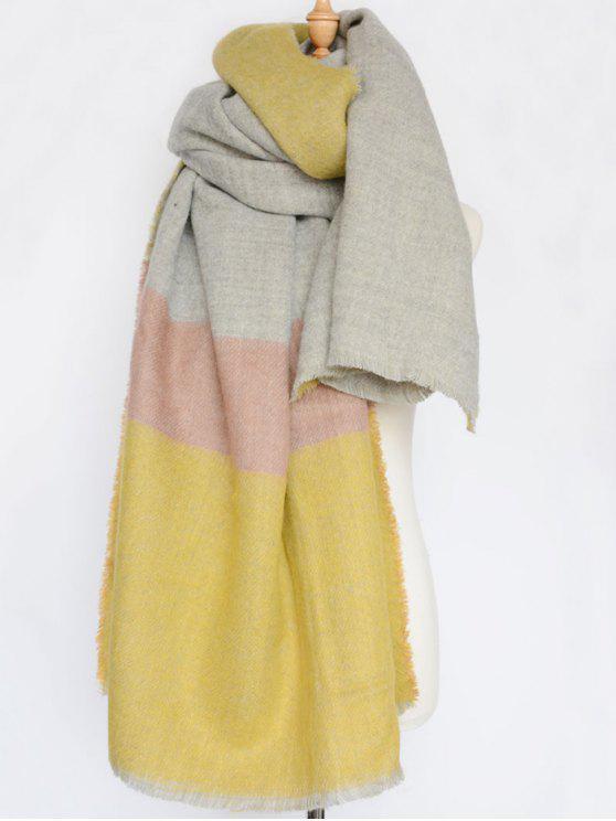 Écharpe d'hiver à rayure large avec bordure frangée - Jaune