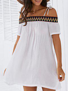 Vestido Recto De Tirante Fino Con Bordado - Blanco S