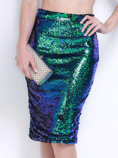 Hohe Taille Sequined Bodycon Rock - Grün M