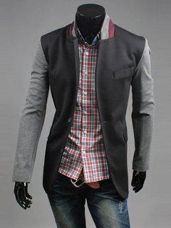Stand Collar Long Sleeve Breast Pocket Spliced Casual Blazer - Black L