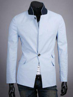 Stand Collar Splicing Design One-Button Long Sleeve Blazer - Azure Xl