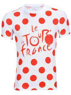 Maillot Manches Cou Polka Dot Ronde Courte Pour Les Hommes - Rouge Et Blanc Xl