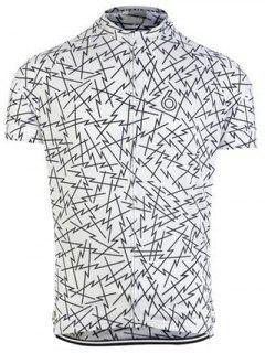 Irregular Lines Design Round Neck Short Sleeve Jersey For Men - White 3xl