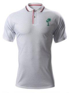 Tree Print Turn-Down Collar Short Sleeve Polo T-Shirt - White Xl