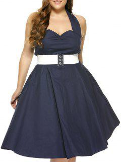 Plus Size Halter Open Back Pin Up Cocktail Dress - Purplish Blue Xl